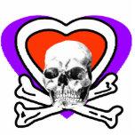Corazón del cráneo y blanco de los huesos los rega esculturas fotográficas