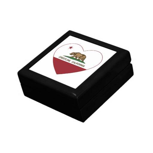 corazón del crestline de la bandera de California Joyero Cuadrado Pequeño