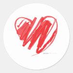 Corazón del creyón del día de San Valentín - amor  Etiqueta Redonda