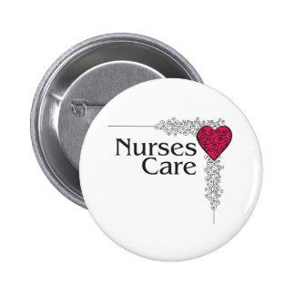 corazón del cuidado de la enfermera pin redondo de 2 pulgadas