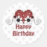Corazón del cumpleaños pegatina redonda