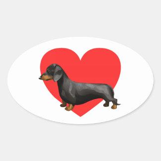 Corazón del Dachshund Pegatinas De Oval Personalizadas