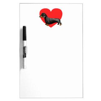 Corazón del Dachshund Pizarra Blanca