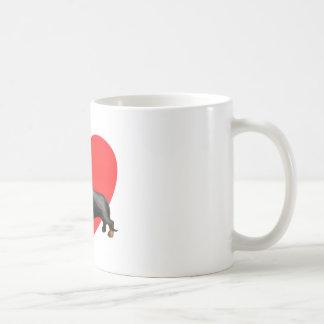 Corazón del Dachshund Tazas De Café