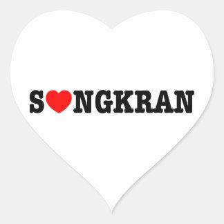 Corazón del ~ de S❤NGKRAN (amor) Songkran Pegatina En Forma De Corazón
