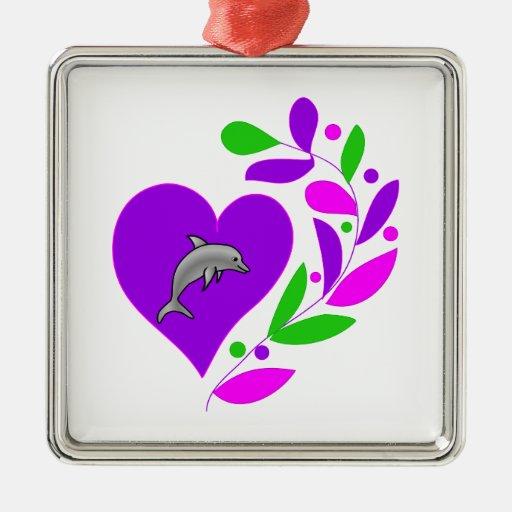 Corazón del delfín adornos de navidad
