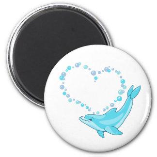 Corazón del delfín imán redondo 5 cm