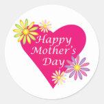 Corazón del día de madre etiquetas redondas