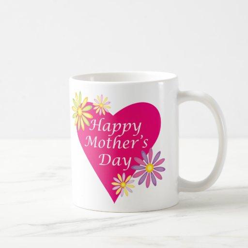 Corazón del día de madre tazas de café