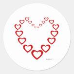 Corazón del día de San Valentín de los corazones - Etiqueta Redonda