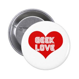 Corazón del día de San Valentín del amor del friki Pin Redondo 5 Cm