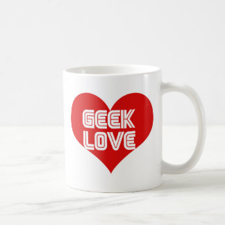 Corazón del día de San Valentín del amor del friki Taza De Café