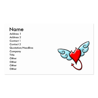 Corazón del diablo con la tarjeta de visita (travi