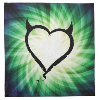 Corazón del diablo que brilla intensamente servilletas