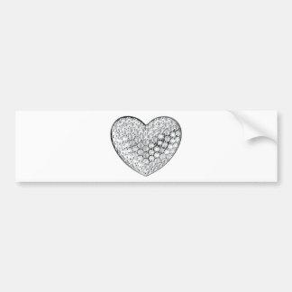 Corazón del diamante etiqueta de parachoque