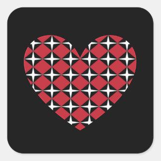 Corazón del diamante de la MOD Pegatina Cuadrada