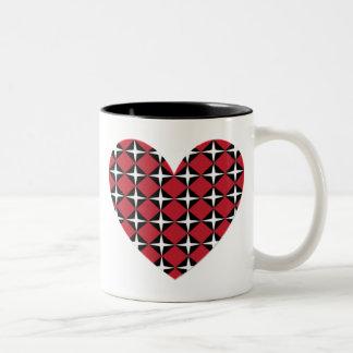 Corazón del diamante de la MOD Taza De Café De Dos Colores