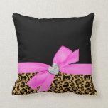 Corazón del diamante del arco del rosa del leopard almohadas