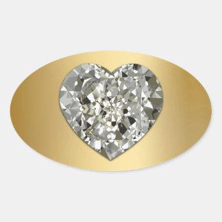 Corazón del diamante en los sellos y los pegatinas calcomanía de óval personalizadas