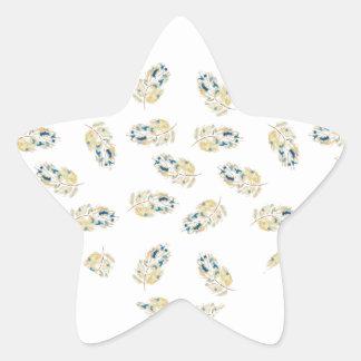 Corazón del diseño del watercolour de las plumas pegatina en forma de estrella