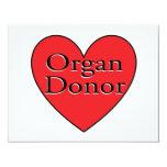 corazón del donante de órganos invitacion personal
