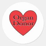 corazón del donante de órganos pegatinas redondas