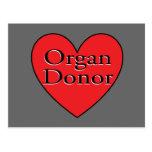 corazón del donante de órganos postales