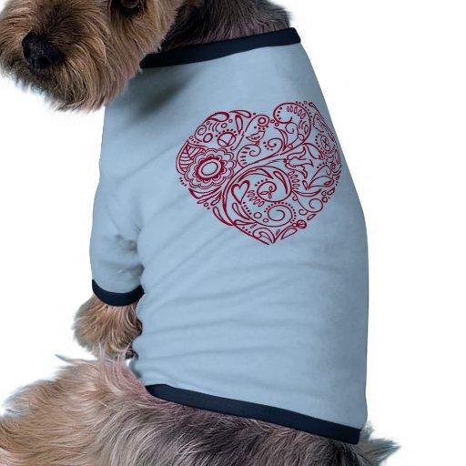 corazón del doodle camiseta con mangas para perro
