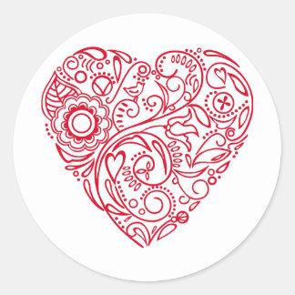 corazón del doodle pegatina redonda