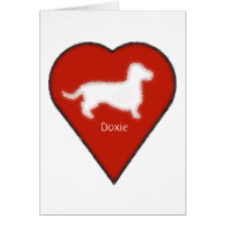 corazón del doxie tarjeta de felicitación