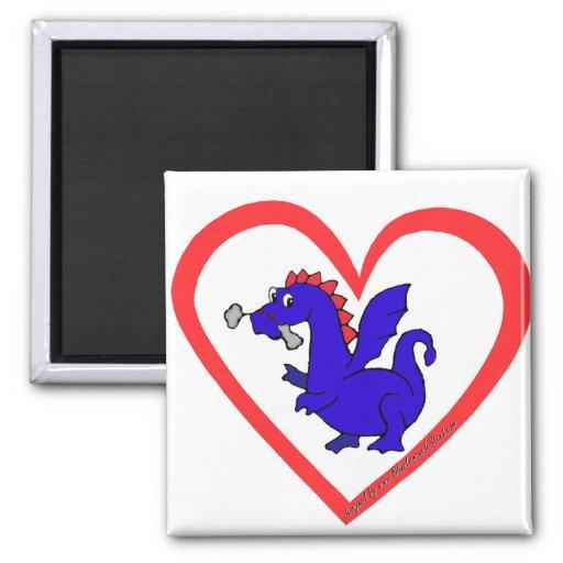 Corazón del dragón imán cuadrado