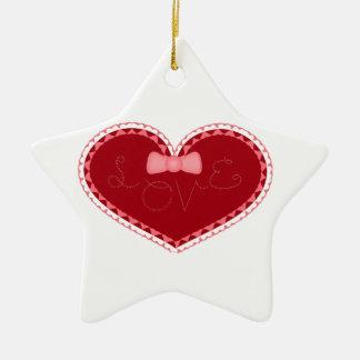 """Corazón del el día de San Valentín con el """"amor"""" Adornos De Navidad"""