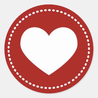 Corazón del el día de San Valentín Pegatina Redonda