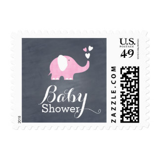 Corazón del elefante rosado sello postal