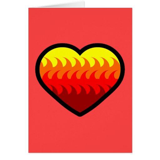 Corazón del elemento del fuego tarjeta de felicitación
