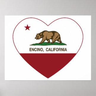 corazón del encino de la bandera de California Posters