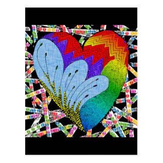 Corazón del enredo del zen del arco iris postales