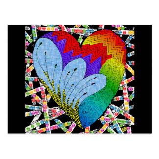 Corazón del enredo del zen del arco iris tarjetas postales