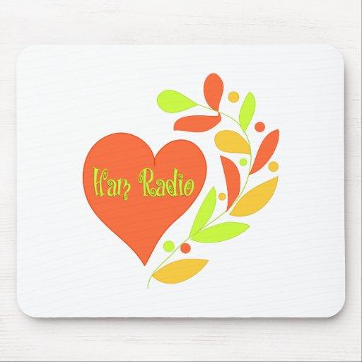 Corazón del equipo de radio-aficionado alfombrillas de raton