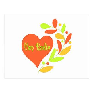 Corazón del equipo de radio-aficionado tarjeta postal