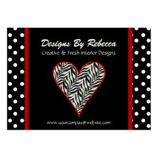 Corazón del estampado de zebra con la tarjeta de tarjetas de visita grandes
