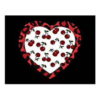 Corazón del estampado leopardo de las cerezas del postal