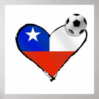 Corazón del estilo de Chile del amor del fútbol y  Póster