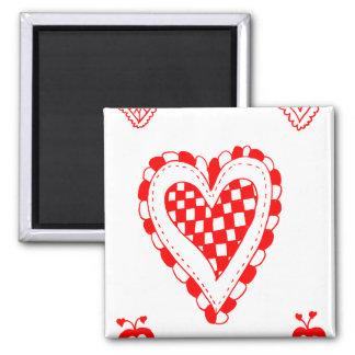 Corazón del estilo rural, pequeño diseño de las es imán cuadrado