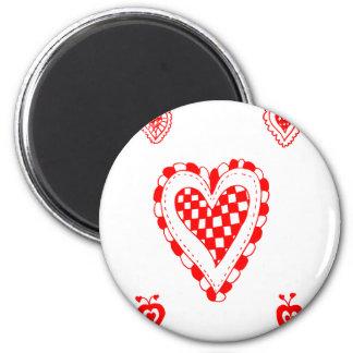 Corazón del estilo rural, pequeño diseño de las es imán redondo 5 cm