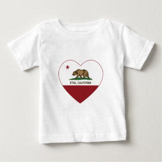corazón del Etna de la bandera de California Playera De Bebé