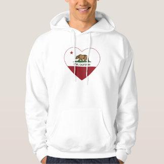 corazón del Etna de la bandera de California Sudadera
