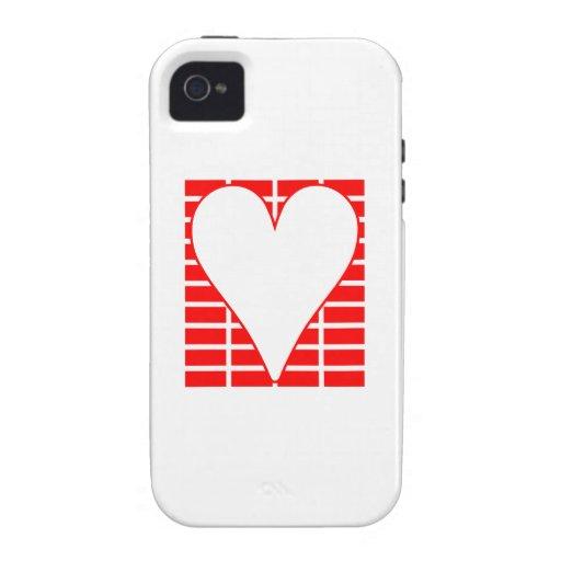 Corazón del fondo de los ladrillos rojos Case-Mate iPhone 4 funda