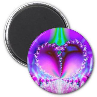Corazón del fractal imán redondo 5 cm