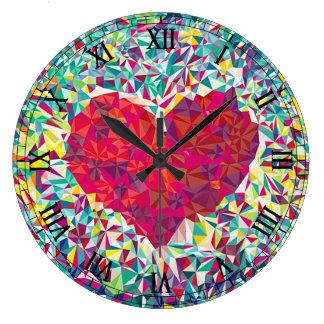 Corazón del fractal reloj de pared